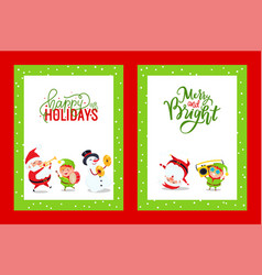 Holiday greeting cards with santa snowman elf vector
