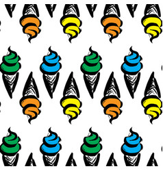 ice cream in waffle cup vector image