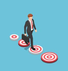isometric businessman walking to bigger target vector image