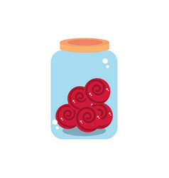 Jar glass candies sweet confectionery snack food vector