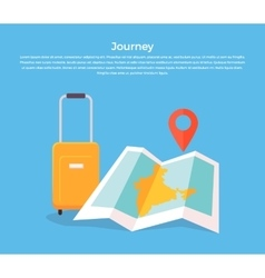 Journey Concept Luggage and Map vector