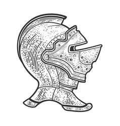 Knight helmet sketch vector
