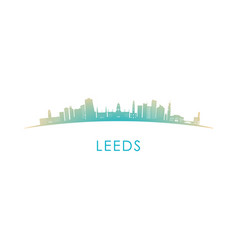 leeds skyline silhouette design colorful vector image