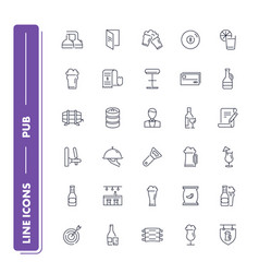 Line icons set pub vector