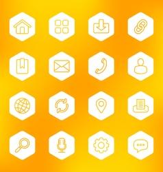 line web icon set on white hexagon vector image vector image