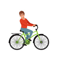 male bicyclist riding a bike active lifestyle vector image