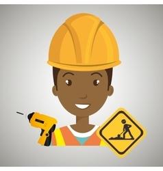 man construction drill helmet vector image