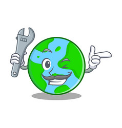 Mechanic world globe character cartoon vector