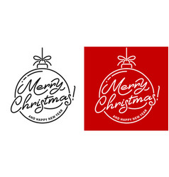 merry christmas artistic lettering line design vector image