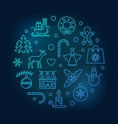 merry christmas blue circular line vector image