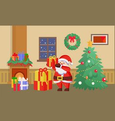 merry christmas santa claus with presents gifts vector image