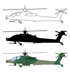 military icon helicopter silhouette cartoon vector image