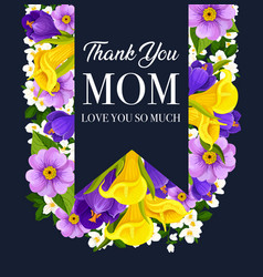 Mother day flower card with spring blossom ribbon vector