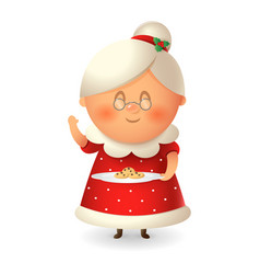 mrs claus - wife santa with cookies vector image