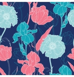 Night Flowers Seamless Repeat Pattern With vector