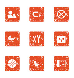 Observation pregnancy icons set grunge style vector
