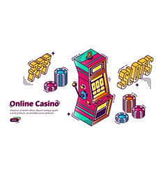 online casino gambling house isometric landing vector image