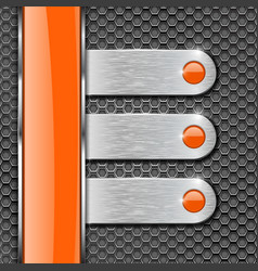 orange glass stripe and metal plates on perforated vector image vector image