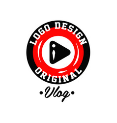 Original round logo design for online video vector
