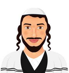 Orthodox jewish man with hat in traditional suit vector
