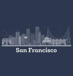 outline san francisco california city skyline vector image
