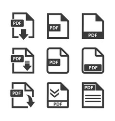 pdf file icon set vector image
