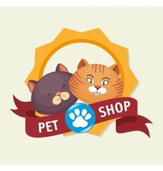 Pet shop badge foot print kitten vector