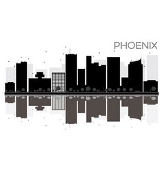 Phoenix city skyline black and white silhouette vector