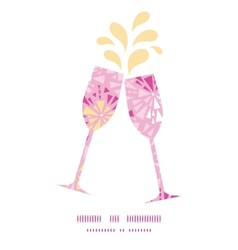Pink abstract triangles toasting wine glasses vector