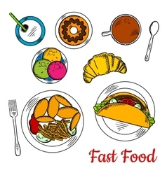 Popular sketchy dishes fast food menu for lunch vector