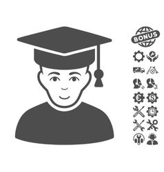 Professor Icon With Tools Bonus vector image