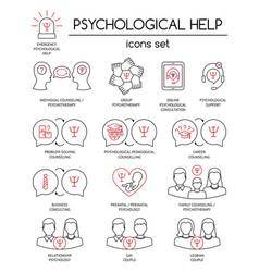 Psychological help set linear icons symbols vector