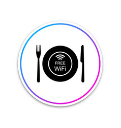 Restaurant free wi-fi zone icon isolated on white vector