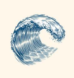 sea wave sketch surfriding concept vintage vector image