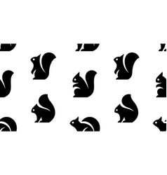 Seamless pattern with squirrel logo vector