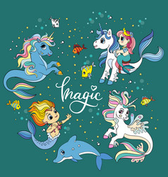 set cute cartoon sea unicorns and mermaids vector image