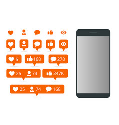 Set icon like icon follower icon comment and vector