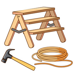 Set ladder and hammer vector