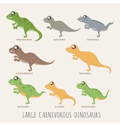 Set of Early carnivorous dinosaurs eps10 vector image