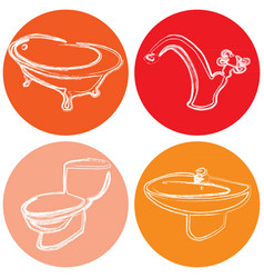set of icons with a picture of plumbing dev vector image