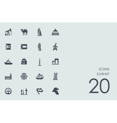 Set of Kuwait icons vector
