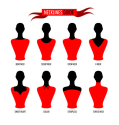 set various neck lines on woman mannequins vector image
