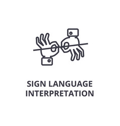 Sign language interpretation line icon outline vector