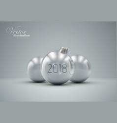 Silver christmas balls vector