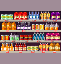 Supermarket or shop showcase or stall with drinks vector