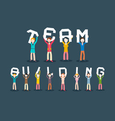 team building concept people holding letters vector image