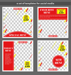 Templates for food with 4 title themes for social vector