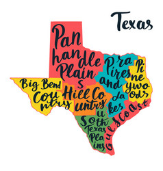 Texas state map hand lettering vector