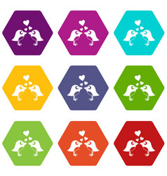 two birds with hearts icon set color hexahedron vector image