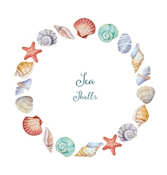 Watercolor round frame sea shells vector